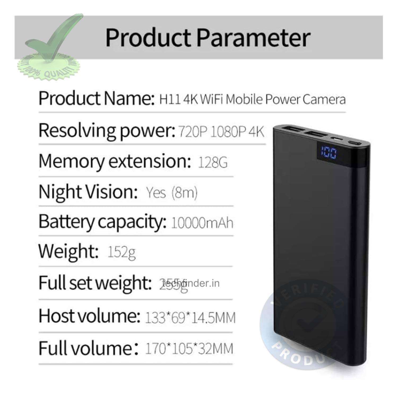 Digital 4k WiFi Spy Hidden Camera with Recorder in USB Power Bank